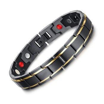 Exquisite Herren Magnetische Armbänder Edelstahl Magnetische Therapie Negative Ionen Armband Gold-farbe Schwarz Herren Mode Schmuck