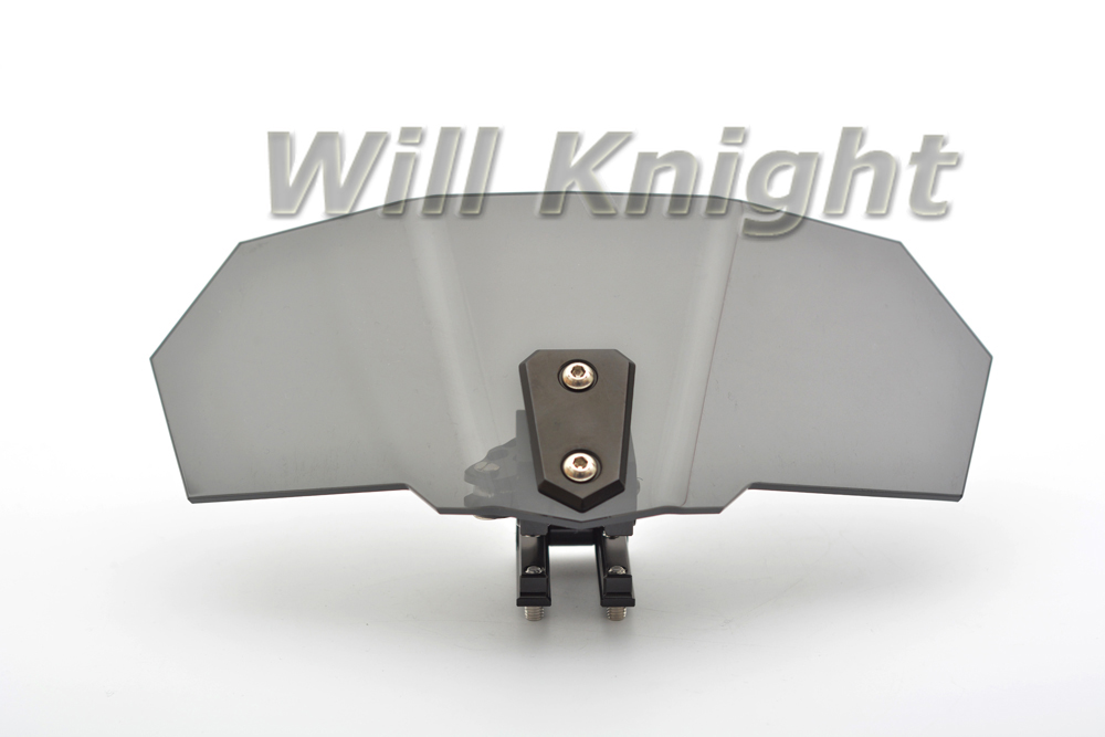Universal Adjustable Screen Windscreen Dark Smoke Tinted Windshield Spoiler Air Deflector For Harley Yamaha Suzuki BMW