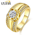 Yellow gold plated wedding Rings for men Jewelry stainless steel zirconia crystals finger men rings male anel bijoux top quality