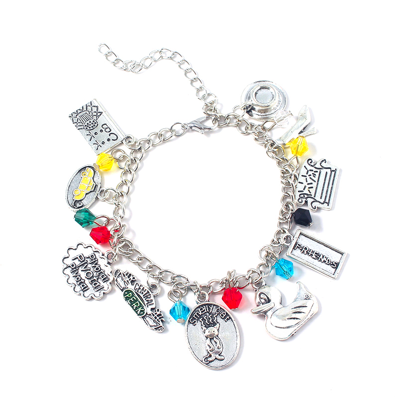 TV Show Friends Braceletes For Women Girls Fashion Jewelry Central Perk Coffee Time Cat Charm Bangles Accessories image