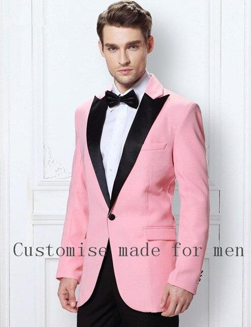 2017 Classic Men Suits Tailored Pink Velvet Blazer Mens Wedding