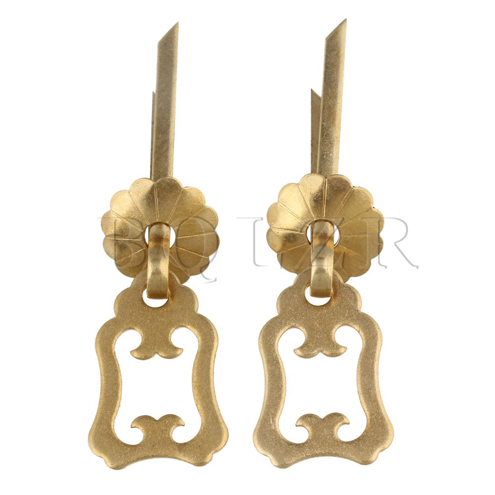 BQLZR Bronze Brass Jewelry Box Pull Handle Hardware W/ U-Shaped Pin Pack of 2 bqlzr 2 x bronze thicken dragon pattern pull knob hardware w u shaped pin