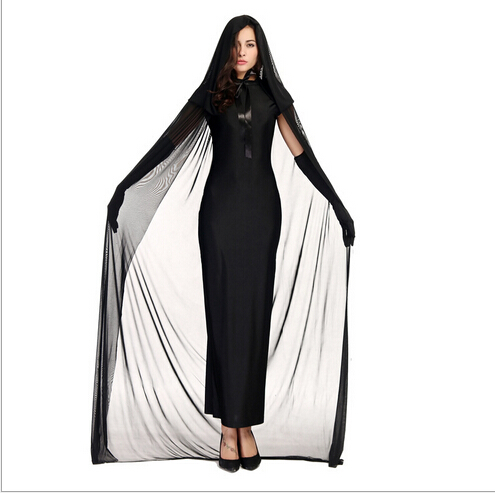 Kids Adults Black Ghost Costume Evil Witch Costume Gothic Cosplay  Floor Length Cloak Halloween Costumes For Women Girl XXS XXL