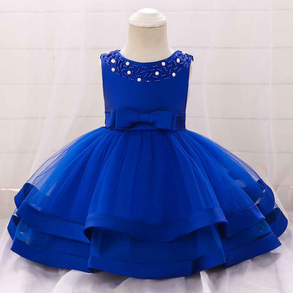 095393e0af Drop ship Children Baby Girls Kids Rhinestone Beaded Ribbon Hem Tull  Princess 1rst Birthday Party Dress Valentine's Day Wear