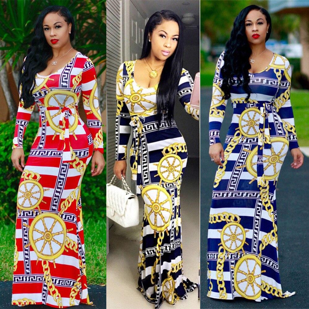 Spring/summer 2019 New Style, Fashionable Digital Print, Round-neck Long-sleeve Dress