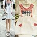 Summer dress 2017 caliente campesino vintage bordado de la flor de la blusa casual dress vestidos tallas grandes ropa tops envío gratis