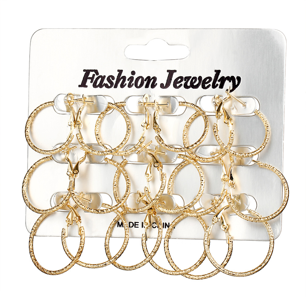 9Pair/Set Small Cute Gold Silver Color Round Circle Hoop Earrings Set For Women Steampunk Earrings Fashion Gifts Jewelry circle