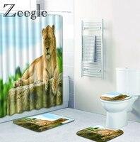 Zeegle Lion Pattern Shower Curtain and Bathroom Mats 4PCS Anti Slip Mat for Bathroom Microfiber Bathroom Rug Toilet Floor Carpet