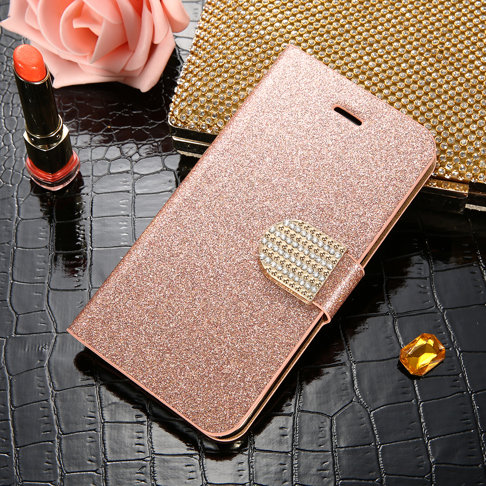 KISSCASE Glitter Diamond Flip Case For iPhone 6 6S Plus Wallet Stand Phone Cover For iPhone 5 5S SE For iPhone 7 8 Plus X Fundas