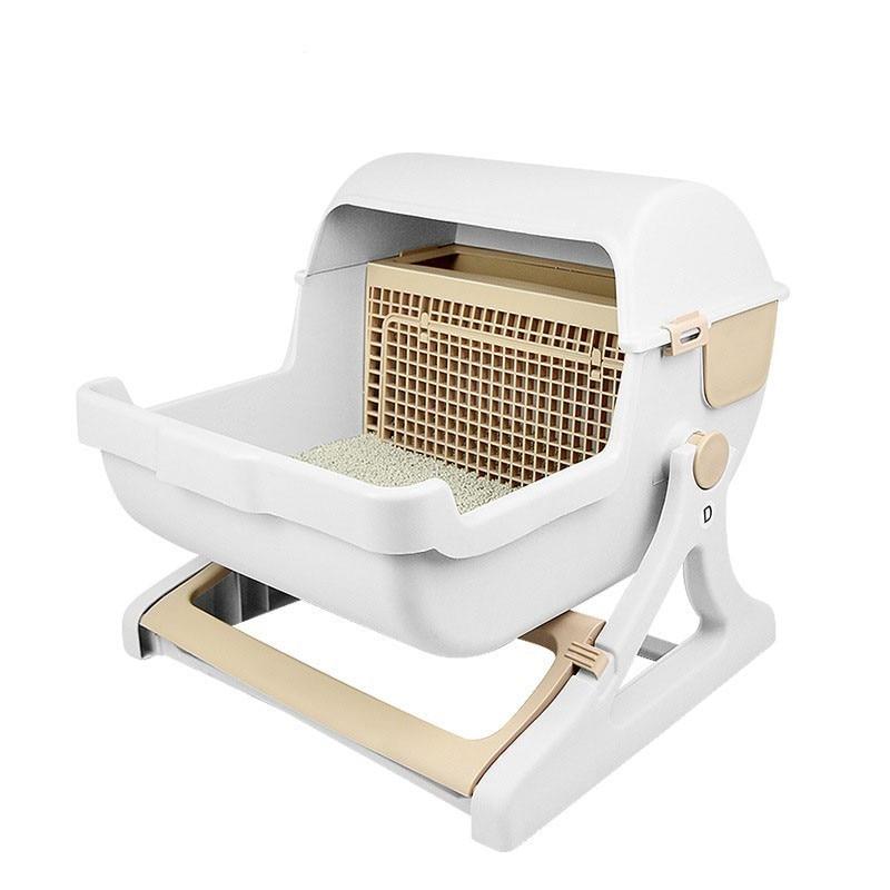 Pink Green Beige Large Semi-automatic Cat Toilet Pet Semi-closed Litter Box training kit Supplies Free Shipping