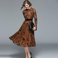 2018 Spring Top Fashion Women Elegant Lace Dress Sexy Hollow Out Long Sleeve High Quality Autumn