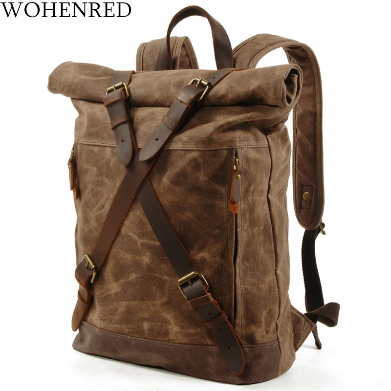 WOHENRED Waxed ผ้าใบกระเป๋าเป้สะพายหลังชายกระเป๋านักเรียนกระเป๋าแล็ปท็อป Daypack ขนาดใหญ่ความจุเยาวชน Anti   theft Rucksack คุณภาพสูง-ใน กระเป๋าเป้ จาก สัมภาระและกระเป๋า บน   1