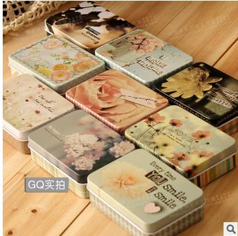 New arrivals exquisite rectangle flower pattern tin jewelry box candy storage box cigarette card case 9pcs/lots mix color
