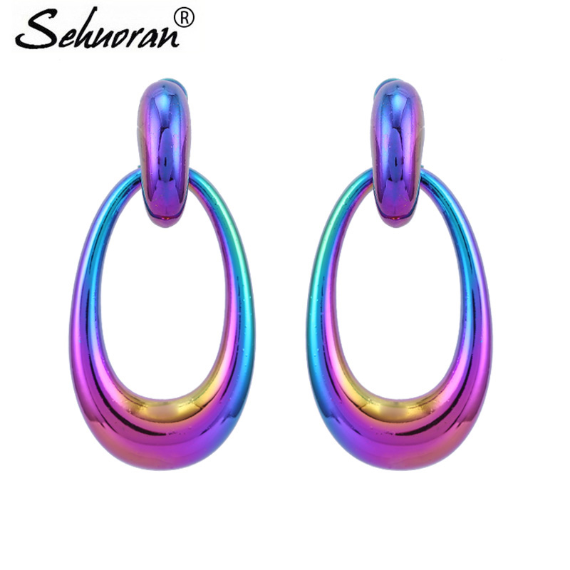 Sehuoran Drop Earrings For Woman Zinc Alloy Long Pendants Oval Colorful Luxury High Quality Trendy Earrings GiftsSehuoran Drop Earrings For Woman Zinc Alloy Long Pendants Oval Colorful Luxury High Quality Trendy Earrings Gifts