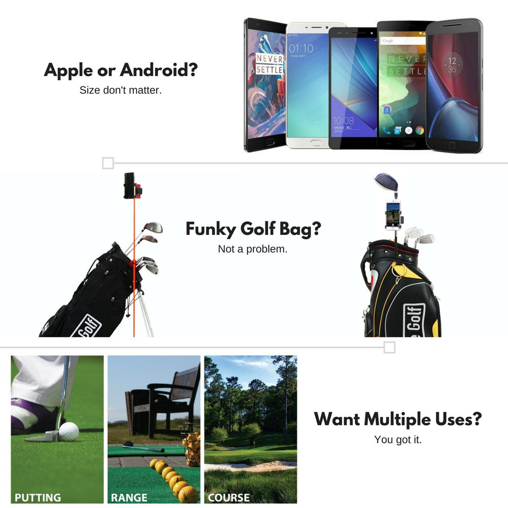 Golf Club Practice Records Accessories Phone Holder Golf Training Assistant Equipment Universal Selfie 4
