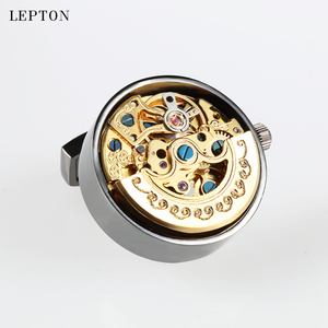 Image 4 - Low key Luxury Functional Watch Movement Cufflinks Lepton Stainless Steel Steampunk Gear Watch Mechanism Cufflinks for Mens
