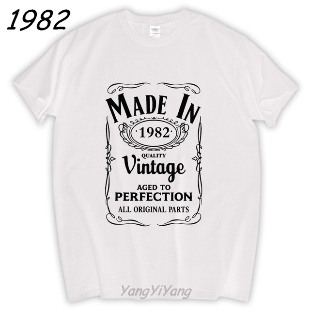 Made In 1982 T Shirt Born 35th Year Birthday Age Present Vintage Funny Summer Cotton Tee Brand Tops Male Gifts