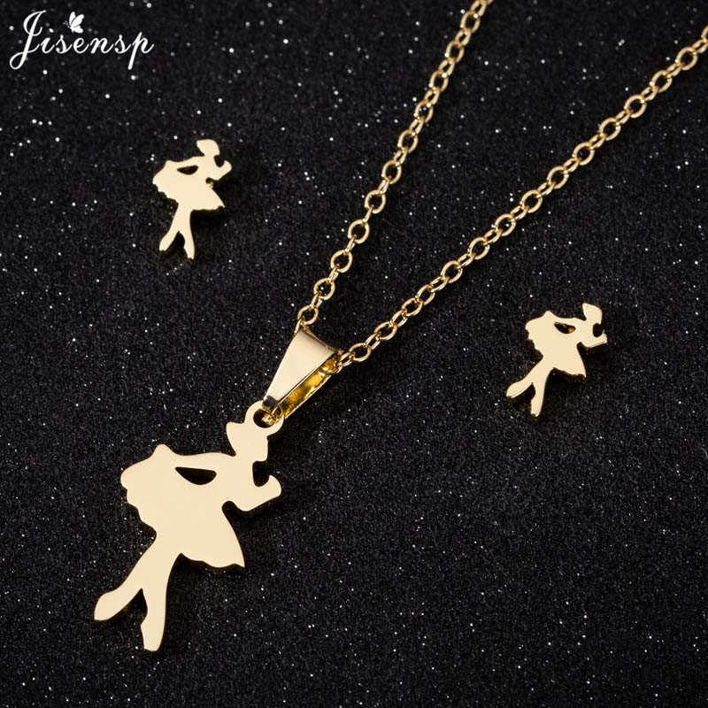 Jisensp Fashion Dance Ballet Pendant Necklace for Girls Gold Chain Stainless Steel Jewelry Necklaces Accessories Graduation Gift