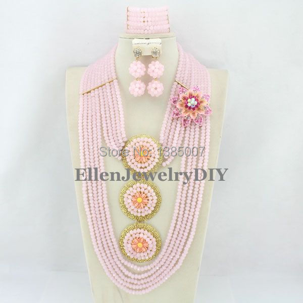 New Arrival Pink African Nigerian Wedding Beads Jewelry Set African Beads Jewelry Set African Beads Necklace Sets WS5230 african symbolism