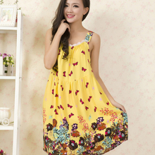 Women Cotton Nightgown Floral Sleep Dress Sleeveless Sleep Shirt Fashion Night Shirt Sexy Nightwear Casual Home Dress