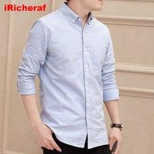 iRicheraf Mens Shirts Men Shirt Long Sleeve Cotton Fashion Striped Full Streetwear Dropshipping 2019 High Quality