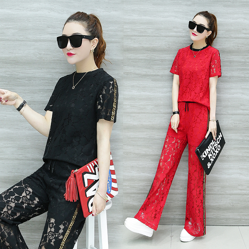 8ac4f9b121d4 Korean fashion new short-sleeved outfit 2018 summer two-piece clothing set  lady lace hollow-out blouse top & wide leg pants suit