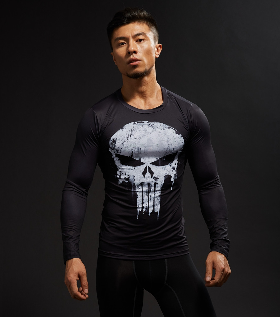 Punisher 3D Printed T-shirts Men Compression Shirts Long Sleeve Cosplay Costume crossfit fitness Clothing Tops Male Black Friday 13