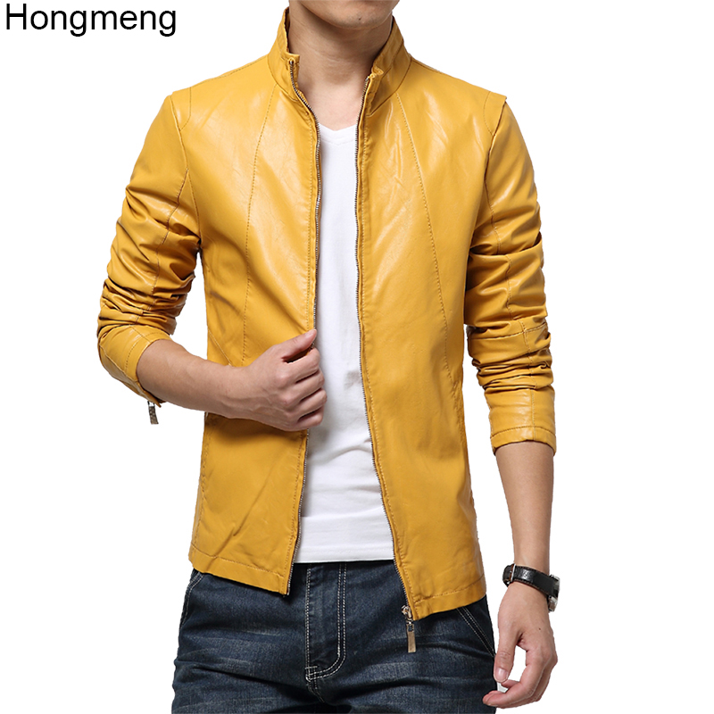 2018 <font><b>mens</b></font> high quality faux leather jacket Slim fit coat male <font><b>clothing</b></font> <font><b>plus</b></font> <font><b>size</b></font> M-<font><b>6XL</b></font> drop ship red yellow white black 5color image