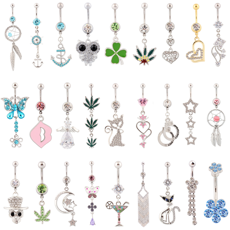 10 pieces mixed different belly button rings body jewelry navel ring sexy waist piercing Postal service free shipping