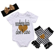 Newborn Baby Girls Romper Bodysuit Striped Leg Warmer Headband Outfits Newborn Hair Dont Care Clothes 0-24 M