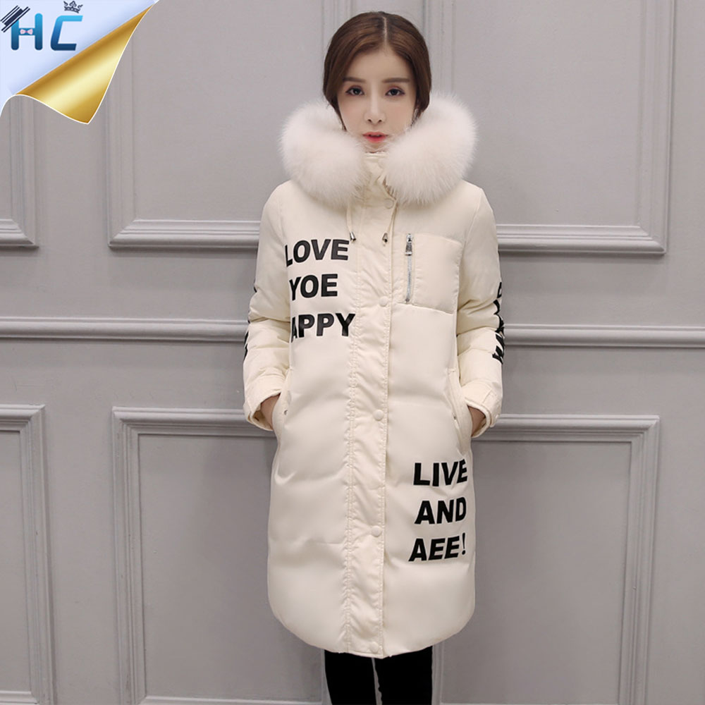 new 2016 winter warm down Cotton jacket Women Faux fur collar Thick Slim hooded Letters Print Long down jacket Coat new 2016 winter warm down cotton jacket women faux fur collar thick slim hooded long down jacket winter coat plus size m 3xl