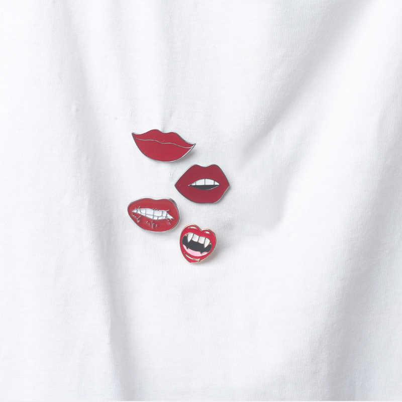 Fashion Seksi Bibir Merah Enamel Pin Bros untuk Wanita Kartun Lipstik Bros Lencana Denim Aksesoris Lapel Pins Wanita Pria Perhiasan