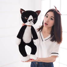 new arrival large 55cm black& white cat plush toy cat doll soft throw pillow toy,birthday present Xmas gift c921