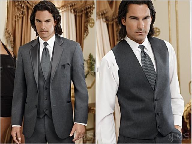 3 Peças Custom Made Cinza de Carvão Vegetal Do Noivo Smoking Notch Lapela Padrinhos Homens vestidos de Casamento (Jacket + Pants + Vest) Dos Homens formais Ternos