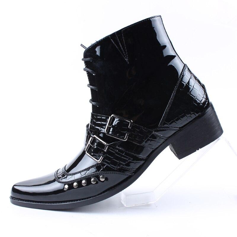 Pu Zipper Sapatos Bota Casuais Homens Couro Preto Patente Cadeia Up Dos Moto Brilhante Fivela Apontou Masculinos Tornozelo Botas Masculina lace 5cWTYFwfq