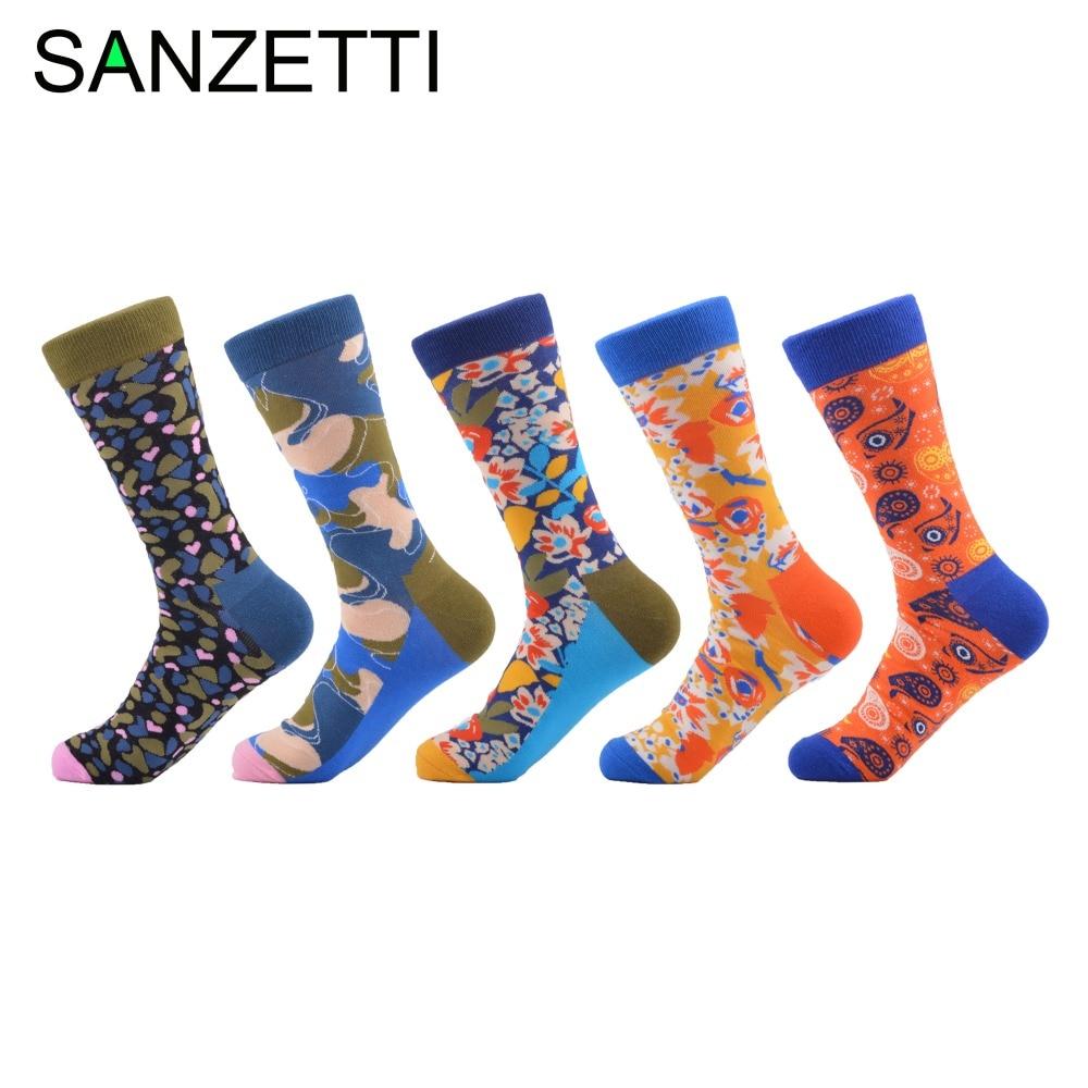 d8a64fdde73 SANZETTI 5 pair lot Colour men crew cotton socks british style casual  harajuku designer brand