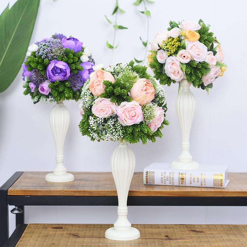 Flone casamento mesa de madeira peça central flores adereços com vaso estrada chumbo flor bola decoração artificial flor hotel christma