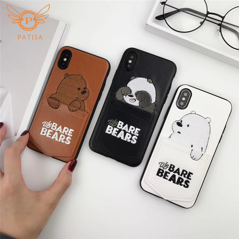 New Cartoon cute Embroidery We Bare Bears Card Pocket Phone Case For iPhone X 6 6s 7 8 Plus XR XS Max Leather Soft Cover Fundas wood