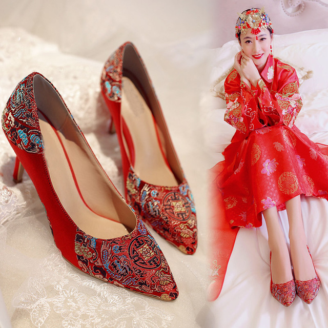 Chinese Wedding Shoes Woman Shoes High Heel Red Wedding Shoes Sy-2201