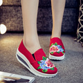 New spring flower embroidery platform shoes women wedge heels Fashion ladies pumps red sexy women shoes bottine femme