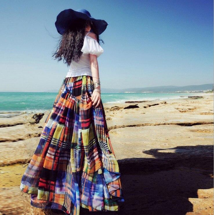 Новая летняя шифоновая юбка с принтом, Женская богемная пляжная юбка с оборками длиной до пола