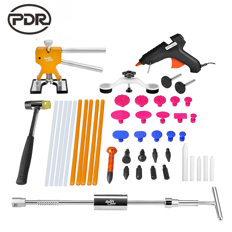 PDR Tools Kit Dent Removal Paintless Dent Repair Bridge Puller Slide Hammer Lifter Glue Tabs Suction Cup Fungi Hammer Tools  paintless dent repair tool pdr kit dent lifter glue gun line board slide hammer dent puller glue tabs suction cup pdr tool set