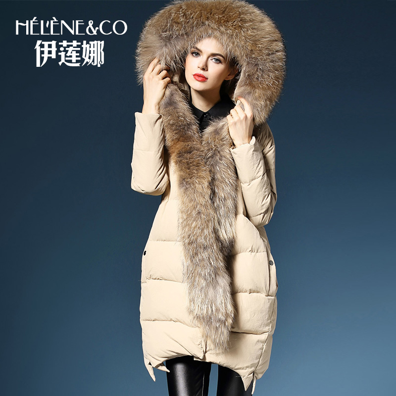 2016 new hot winter Warm woman Down jacket Coat Parkas Outerwear Hooded Raccoon Fur collar Mid long plus size XL black 2017 winter new clothes to overcome the coat of women in the long reed rabbit hair fur fur coat fox raccoon fur collar