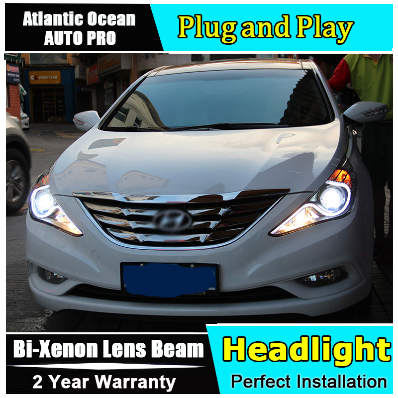 Авто.Про 2011 - 2014 для Hyundai Соната 8 фары би-ксенон двойной объектив+LED свет руководство ДХО+HID комплект комплект стайлинга автомобилей светодиодный налобный ла