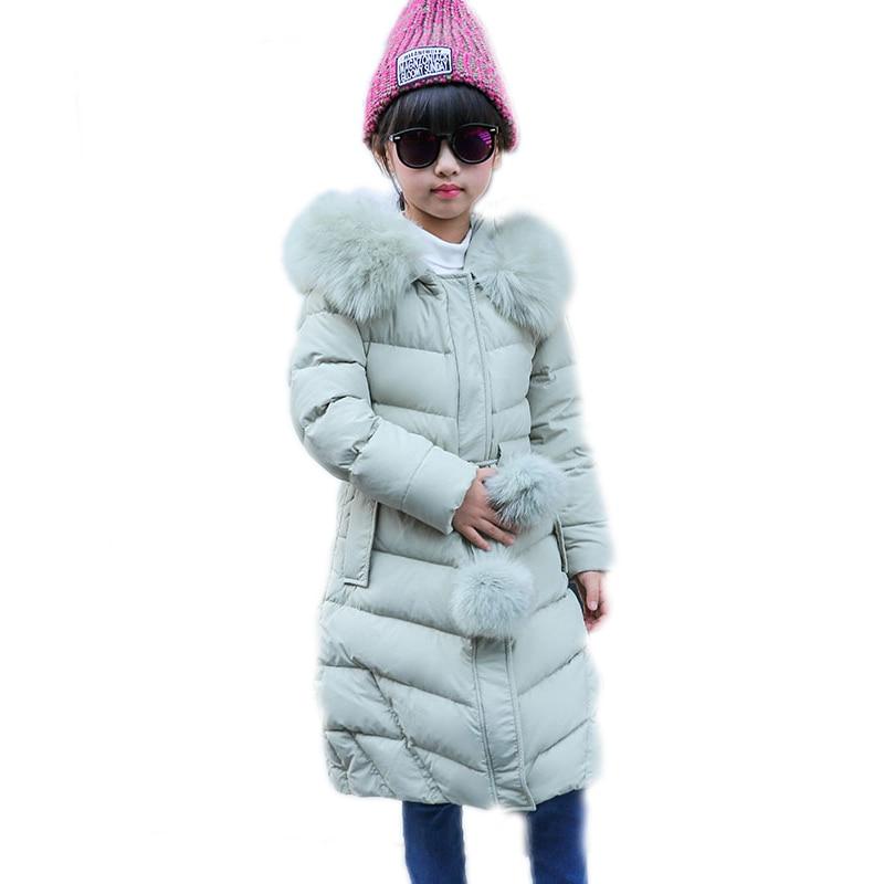 2017 New Winter Coats for Teenage Girls Fur Collar Hooded Long Girls Winter Jackets Ball Belt Thicken Children Outwear Clothing