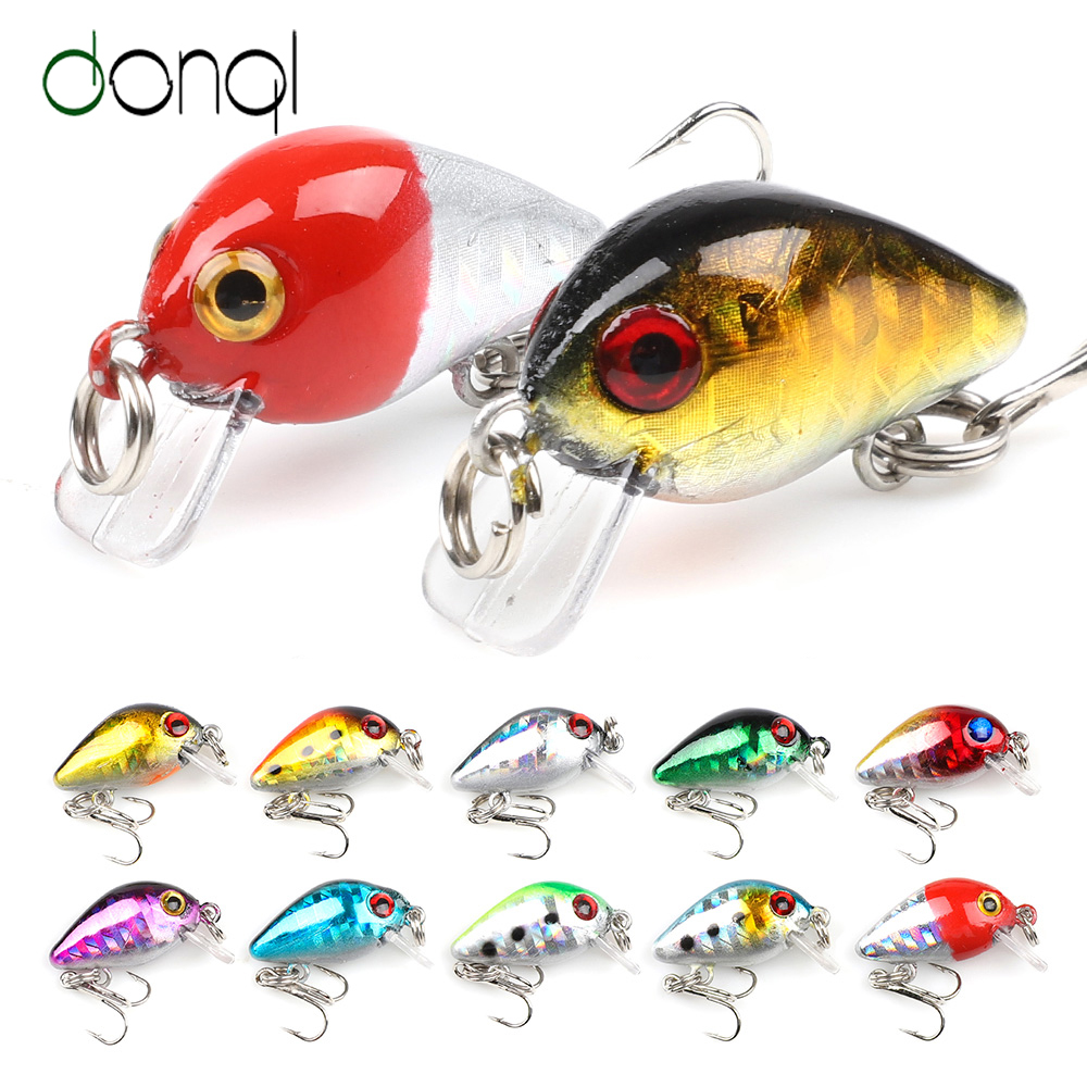 DONQL 2pcs/lot Mini Wobblers Crazy Crankbaits Fishing Lure 28mm 1.7g Topwater Floating Artificial Hard Baits Fishing Tackle