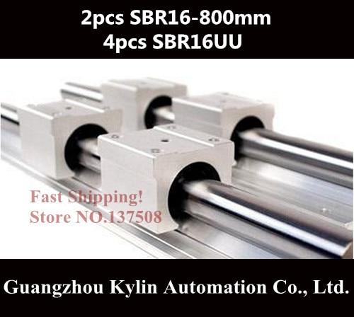 2 pcs SBR16 800mm linear bearing supported rails+4 pcs SBR16UU bearing blocks for CNC