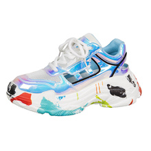 Women Sneakers Shoes Blue Daddy Summer New Colorful Graffiti Trainers Lace Up Womens Woman Zapatos De Mujer