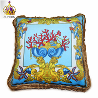 High end royal europe rich italy new design 2018 printed rococo medusa horse gold red wedding cushion covers luxury pillow case