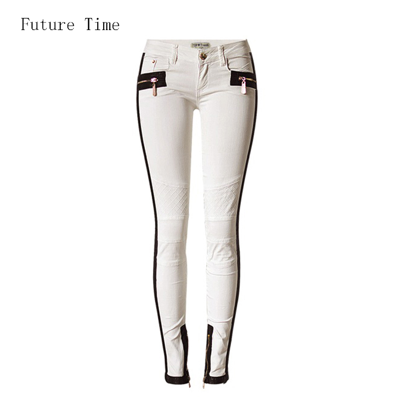 2017 new Women jeans white jeans low waist full length stretch pu spliced pleated washed slim